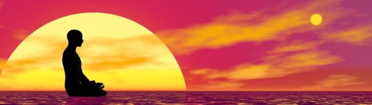Meditation at sunset - 3D render